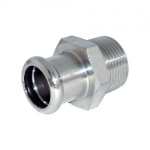 """Male Adapter 1-1/2""""x54mm 316L BSPT Thread w/ Black EPDM O-Ring Inoxpres"""